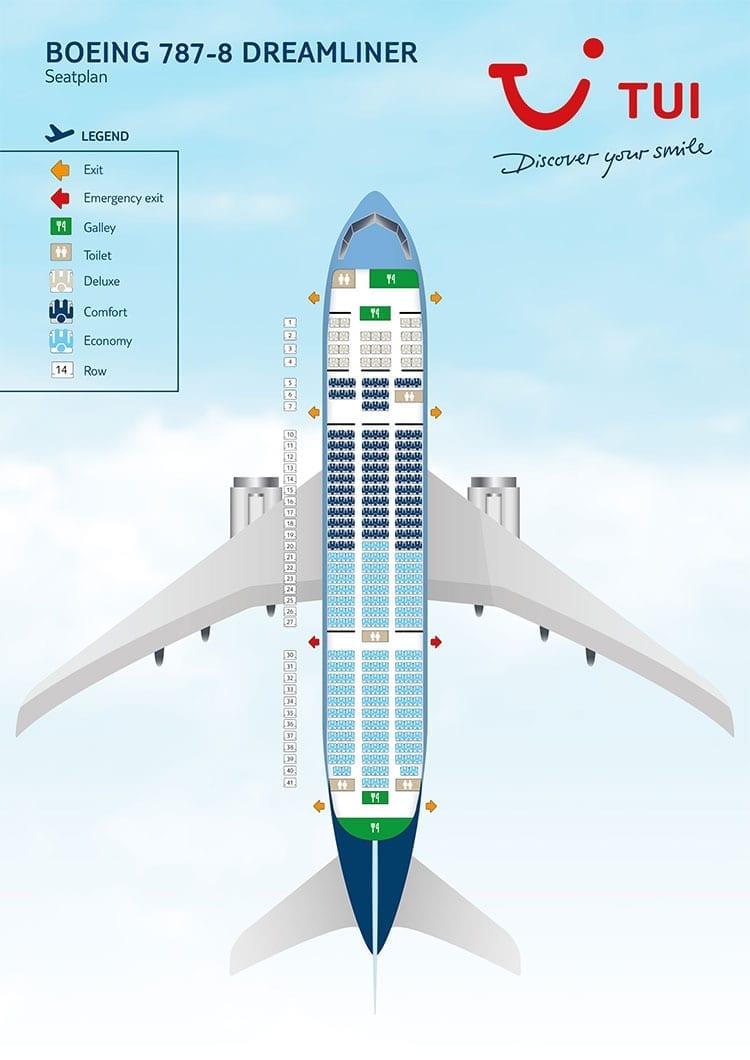 Stoelindeling TUI Dreamliner naar Curaçao (Boeing 787-8)