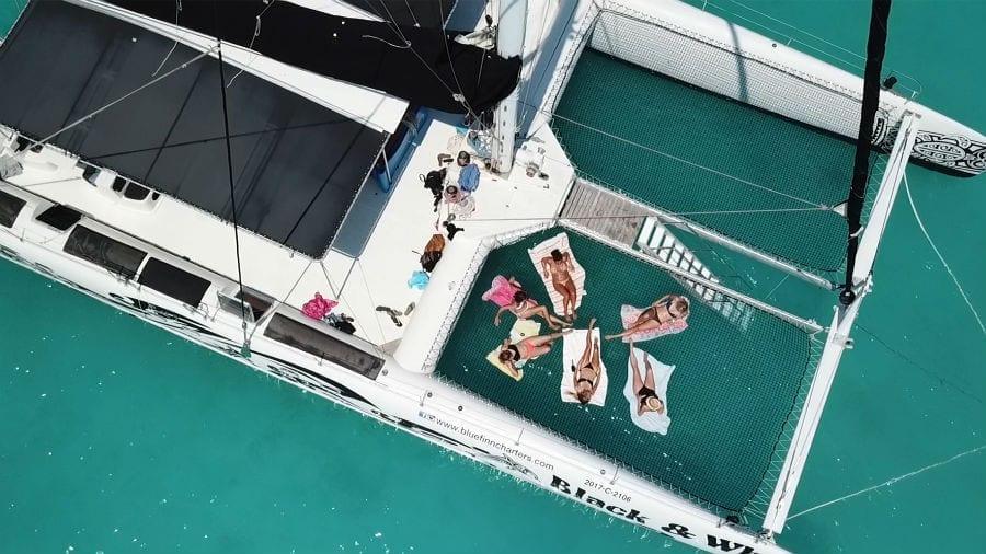 curacao catamaran black white