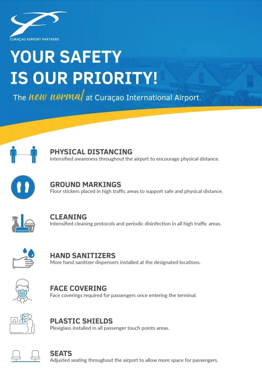 corona maatregelen Curaçao Hato Airport pag1