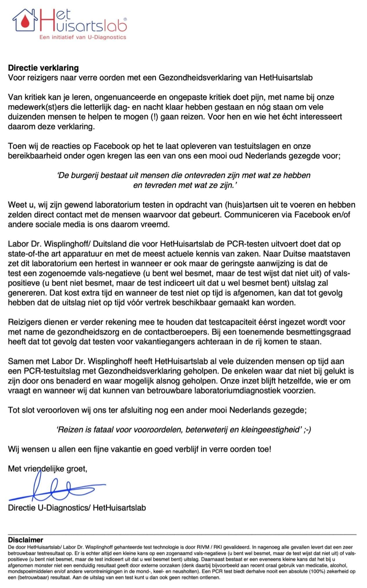 Het Huisartslab, verklaring directie, 24 augustus 2020